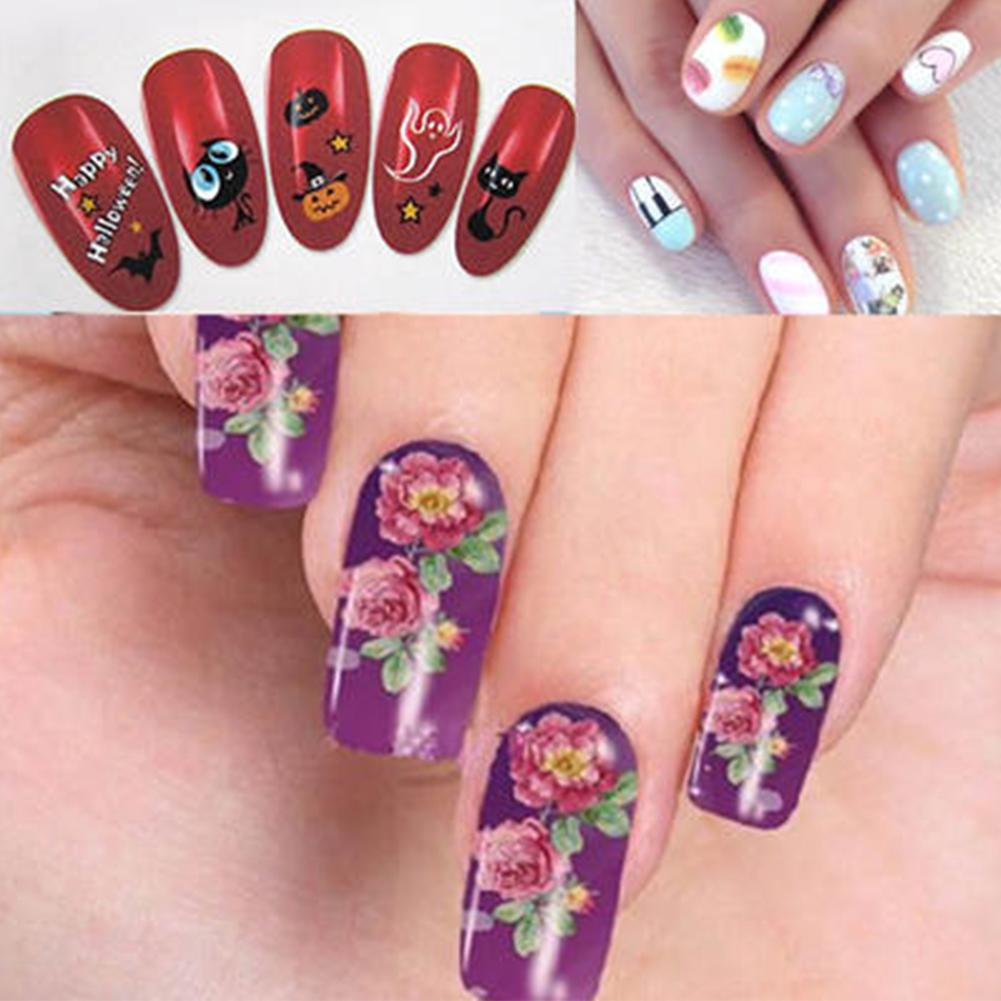 50pcs Watermark Flower Nail Stickers Manicure Tips Decal DIY Art