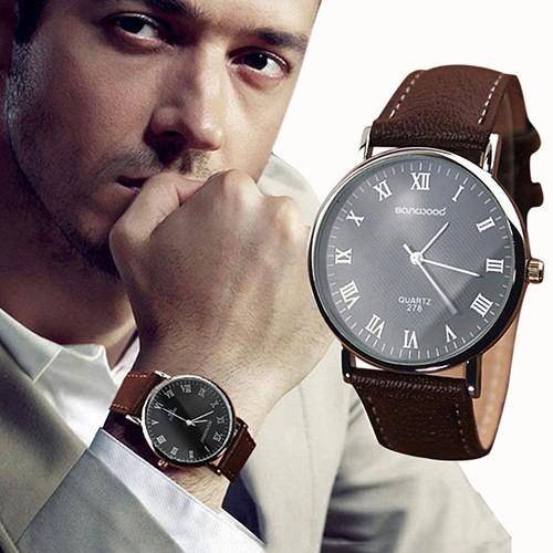 Đồng hồ số La Mã dây giả da thời trang cho nam
