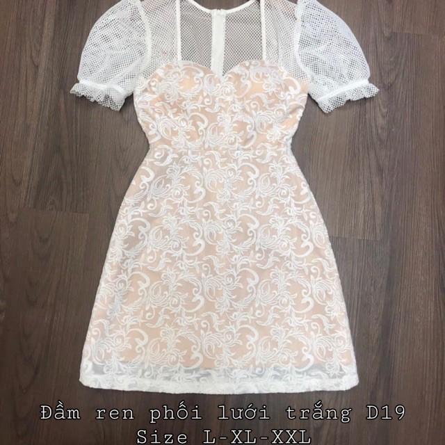 Đầm ren phối lưới trắng D19 bigsize 60-90kg | Đầm váy cho người mập béo | thời trang | quần áo | công sở | oversize