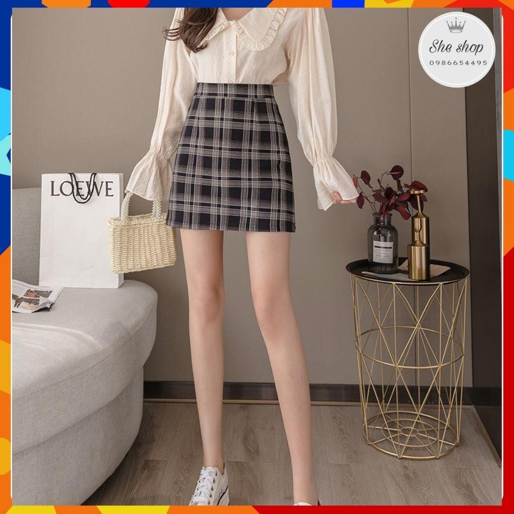 [Mã FAGREEN55 giảm tới 30K đơn 99K] Chân váy chữ A, chân váy kẻ ngắn kiểu dáng năng động, trẻ trung