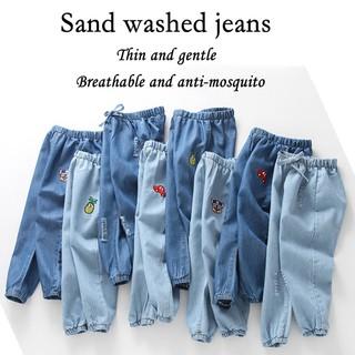 Quần jeans ống rộng chống muỗi phong cách Hàn Quốc cho bé trai và bé gái 90-130cm