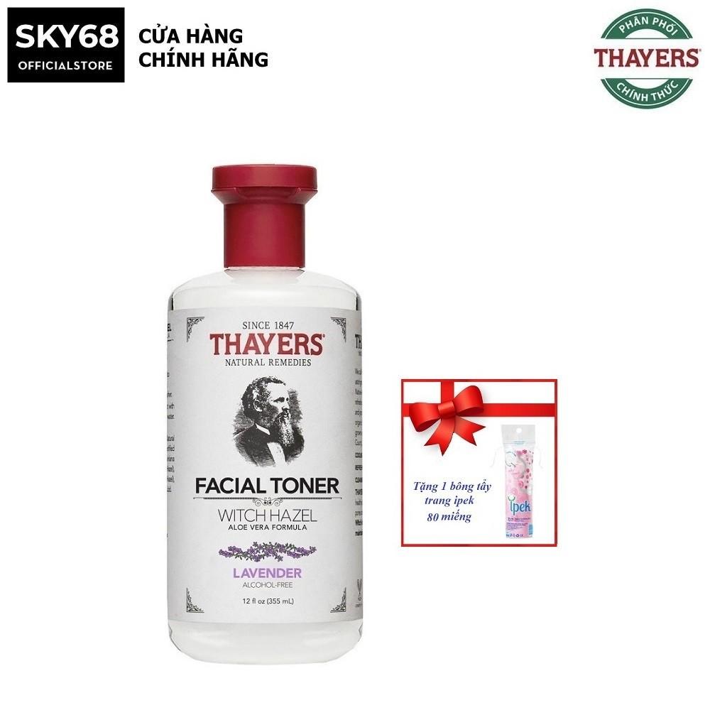 Nước Hoa Hồng Không Chứa Cồn Thayers Alcohol Free Witch Hazel Toner Lavender 355ml + Tặng bông tẩy trang ipek 80 miếng