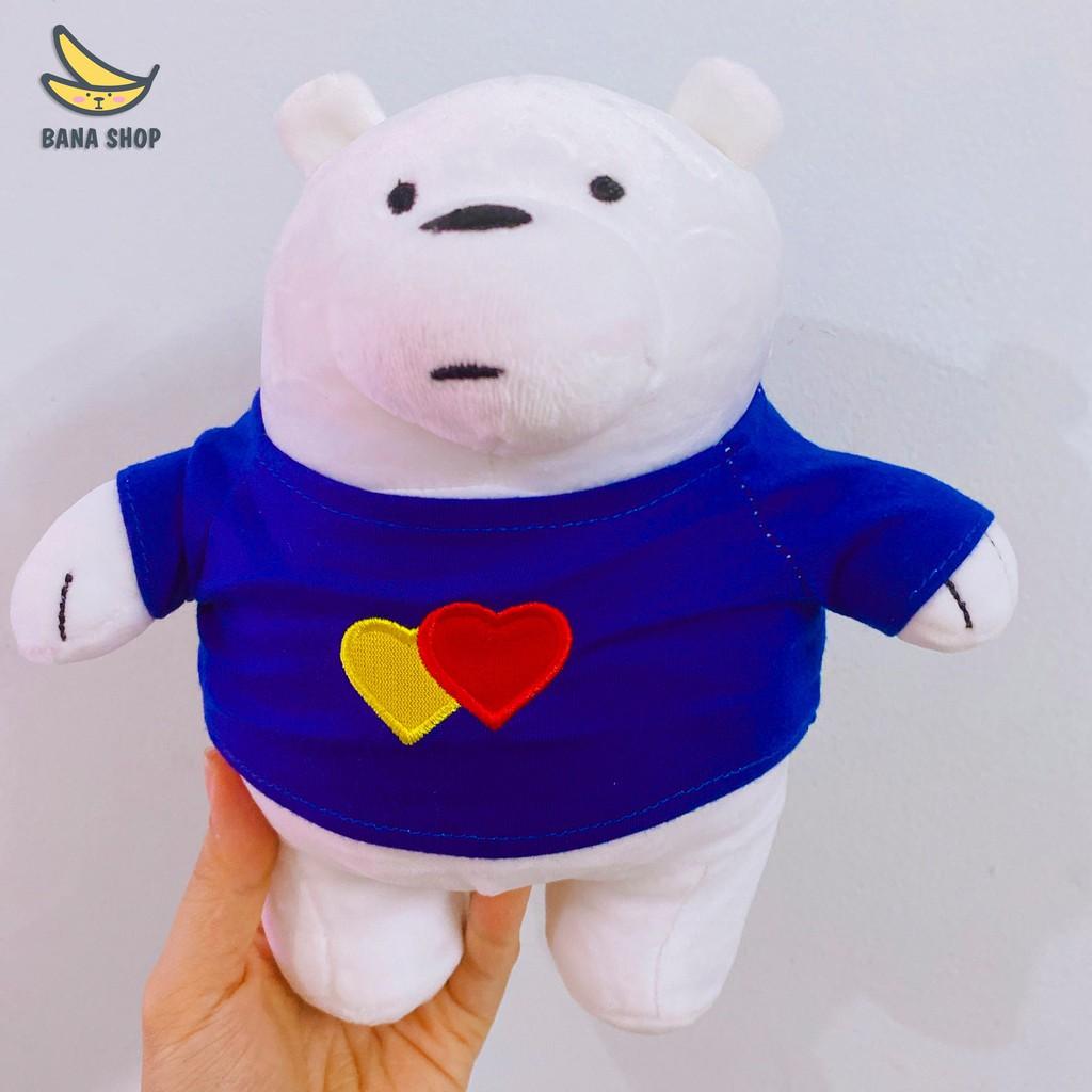 Gấu bông ba chú gấu We Bare Bears Chúng tôi đơn giản là Gấu mặc áo tim Miniso