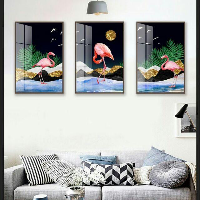Tranh in vải canvas hồng hạc hiện đại 40x60 kèm khung viền