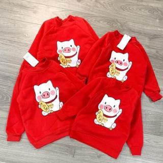 Áo nỉ lót lông heo đỏ siêu ấm cho bé