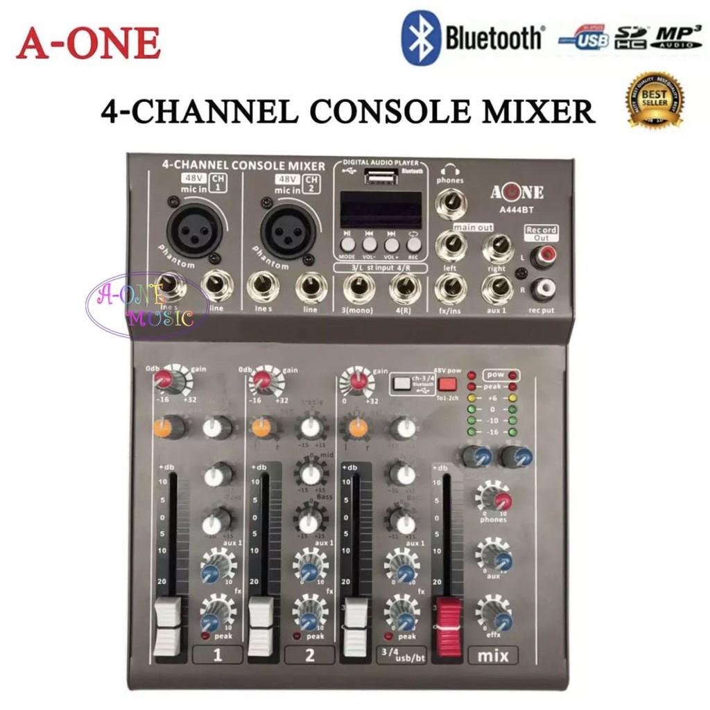 มิกเซอร์ 4ช่อง Live Mixing Studio Audio Sound Mixer Console USB ฺBLUETOOTH รุ่น A-444BT รุ่นใหม่ล่าสุด