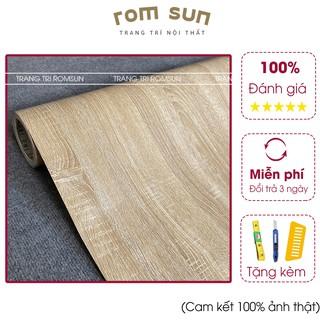 Giấy dán tường giả vẫn gỗ nhám chống thấm - Decal giả gỗ dán bàn tủ,ghế khổ 1m2 60cm thumbnail