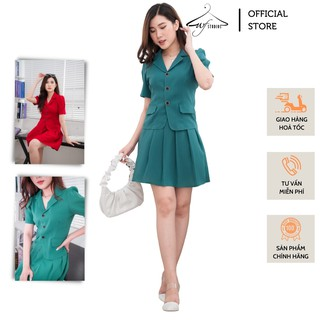 Set áo vest blazer nữ ngắn tay 2 túi hàng thiết kế cao cấp - SV04 - WFstudios thumbnail