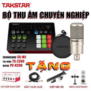 Trọn bộ combo thu âm, livestream: SOUNDCARD SC-M1, MIC PC-200 và TAI NGHE TS2260, kep mic NB35, bảo hành 12 tháng