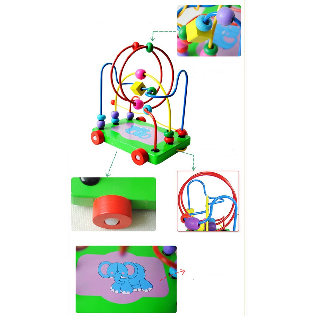Hạt mê cung xe kéo đồ chơi gỗ - đồ chơi giáo dục