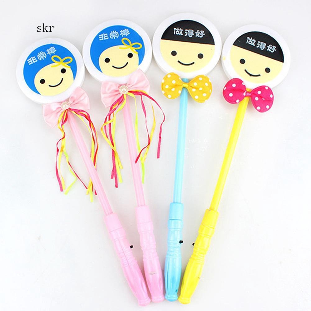 SKR♛Funny Cartoon Smiling Face Bowknot Decor LED Light Glow Stick Kids Toy Prop