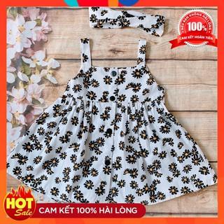 Váy Bé Gái [⚡FREESHIP⚡HOT TREND 2020] Váy Bé Gái Hoa Cúc Hot Trend Thiết Kế Cao Cấp cho bé từ 1 - 8 Tuổi Kèm Turban