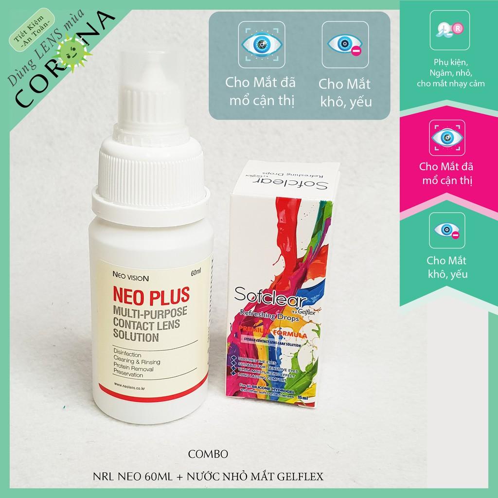 [𝐒𝐞𝐭 𝐌𝐢𝐧𝐢 𝐍𝐠𝐚̂𝐦 𝐍𝐄𝐎 𝟔𝟎𝐦𝐥 + 𝐧𝐡𝐨̉ 𝐦𝐚̆́𝐭 𝐆𝐄𝐋𝐅𝐋𝐄𝐗] Bộ ngâm nhỏ cho kính áp tròng mềm, giữ độ ẩm lâu và làm sạch cho lens mắt