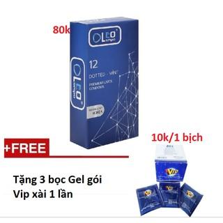 [yêu thích] Bao Cao Su Chấm Bi Gân Gai Bạc Hà Oleo Lampo Dotted Mint Hộp 12 Cái Tặng 3 bịch Gel Vip thumbnail