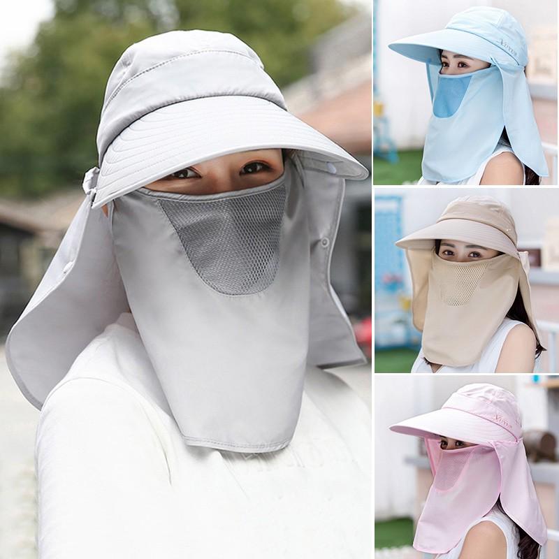 Mũ chống nắng UV vành rộng che kín mặt cổ tiện dụng cho nữ