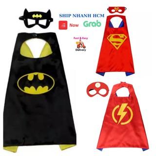 Áo choàng siêu nhân cho bé trai hóa trang siêu nhân superman, người dơi batman, tia chớp the flash kèm mặt nạ che mắt