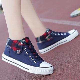 Giày Thể Thao Vải Canvas Cổ Cao Lót Nhung Thời Trang Thu Đông 2020 Cho Nữ