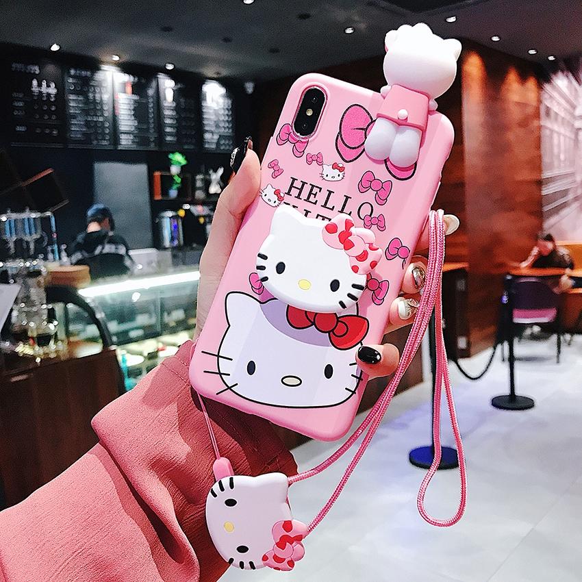Ốp lưng điện thoại nhựa cứng OPPO F9 A3S A37S F3 A7 F7 F5 F1S A71K A83 hình Cute cartoon hello kitty màu hồng 3D