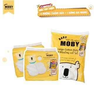 COMBO 2 hộp miếng thấm sữa Moby thoáng khí 1 Bông đa năng 100gr