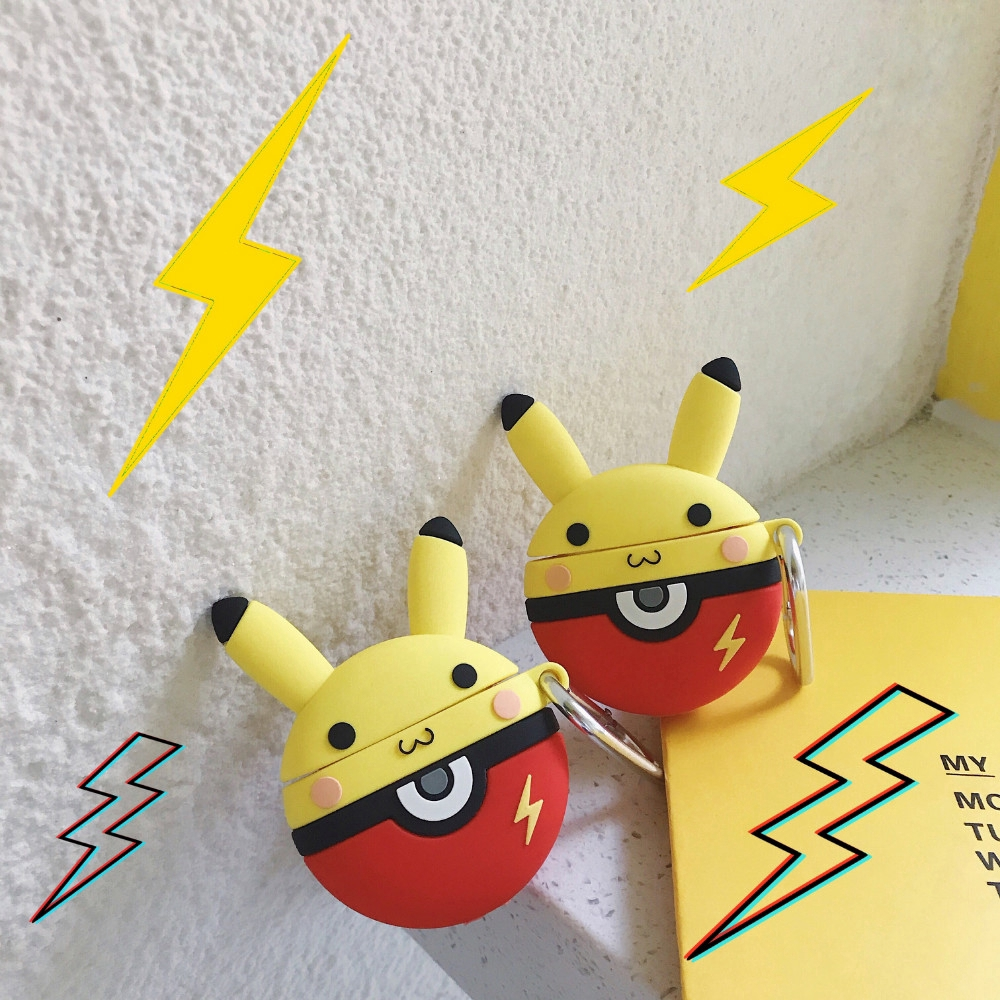 AMO❤INS Airpods Case Protection Pouch Cartoon Silicone Portable Earphone Cover Cartoon Elf Ball Pikachu