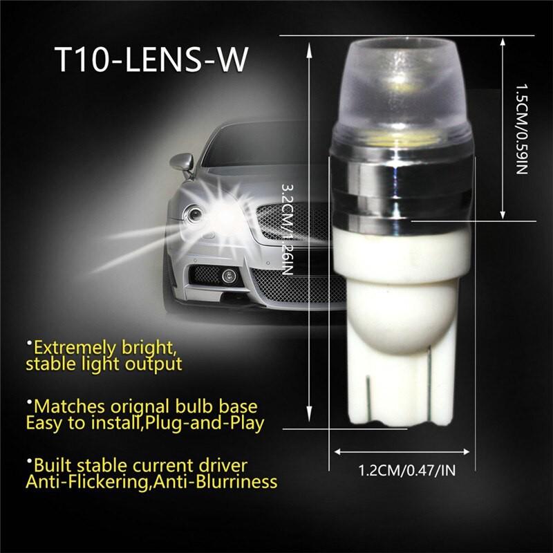 Đèn LED Chân T10 2SMD 6000K Chip 5730 Ánh Sáng Khuếch Tán 3 Chiều Gắn Đèn Lùi, Biển Số Xe