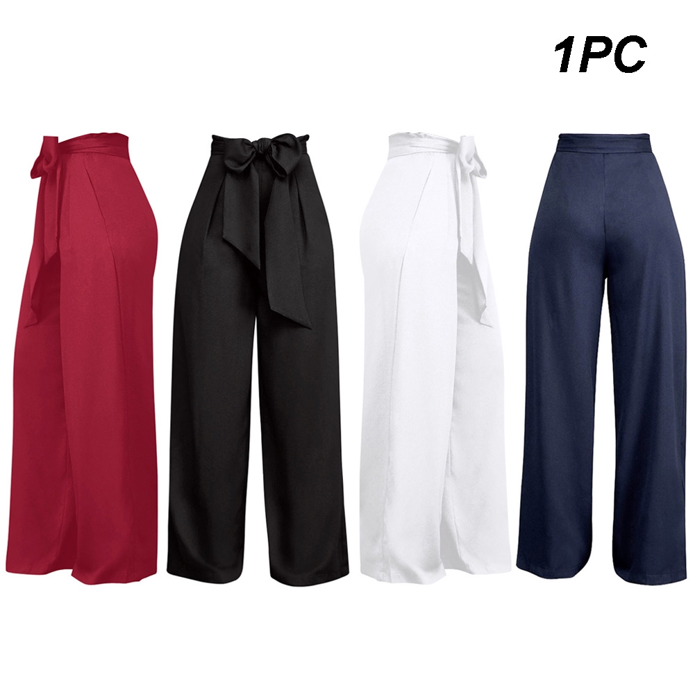 Womens Loose Lace Up Wide Leg High Waist Solid Culottes Fashion Pants Trousers