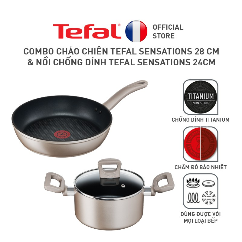 Combo Chảo chiên Tefal Sensations 28 cm & Nồi chống dính 24cm