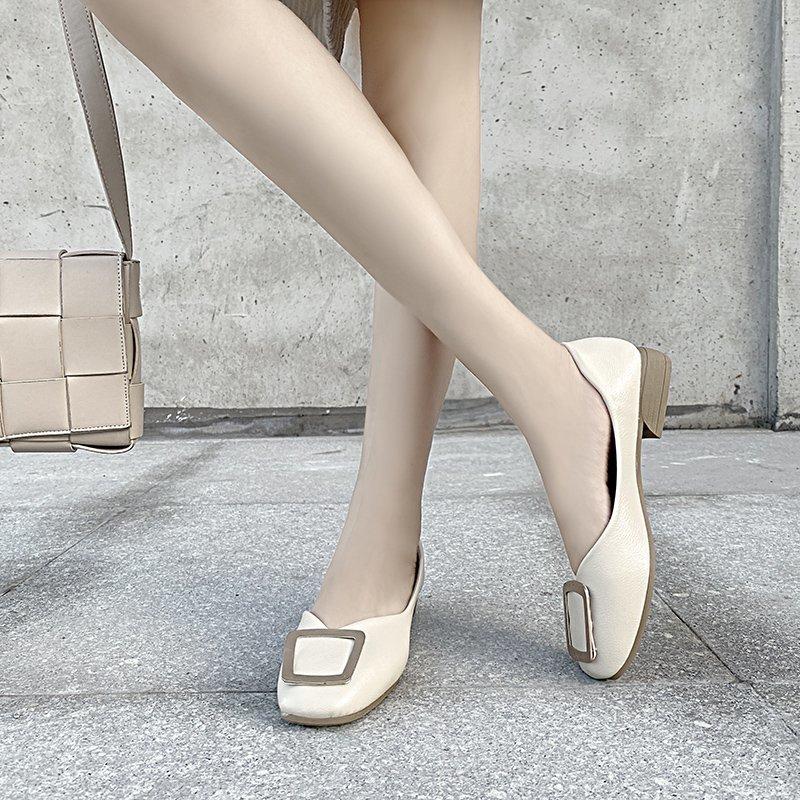 Giày Búp Bê Bệt Màu Đỏ Mũi Vuông Gót Thấp Thời Trang Dành Cho Nữ