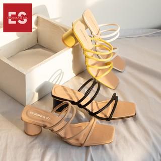 Hình ảnh Dép cao gót Erosska thời trang mũi vuông phối dây quai mảnh cao 5cm màu kem _ EM038-6