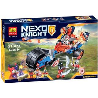Đồ chơi lắp ráp lego nexo knights xe chùy sấm sét của Macy, bot và quỷ đỏ Bela 10516.