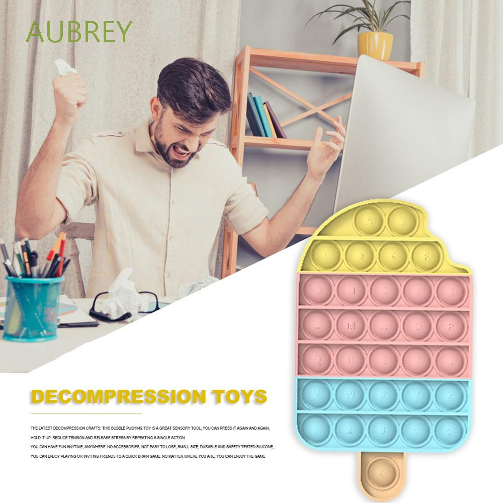 AUBREY Funny Push Pop Bubble Toy Anti-stress Educational Toy Fidget Sensory Game Stress Reliever Rainbow Colors Increase Focus Soft Silicone Squeeze Toys Autism Needs Decompression Balls
