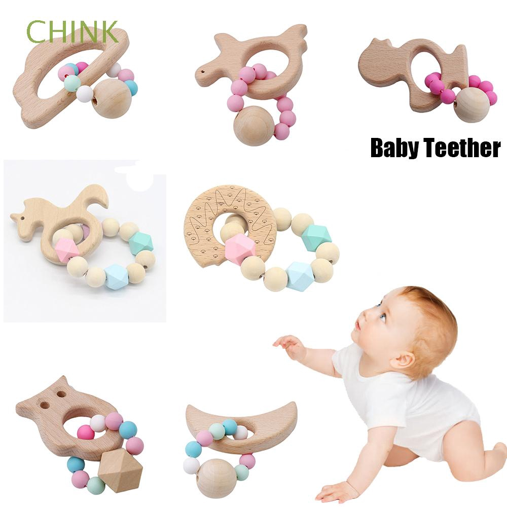 Stroller Accessories Christmas Gift Nursing Crochet Natural Chewable Organic Silicone Beads Wooden Teething toys