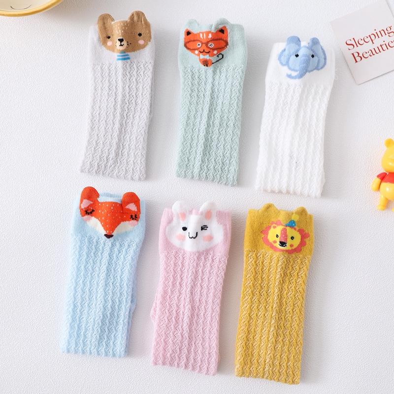 Vớ cotton dài mỏng kiểu lưới màu kẹo họa tiết hoạt hình dành cho bé trai/bé gái 1-3 tuổi