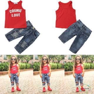 Áo thun sát nách + quần denim dài cho bé gái