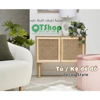 Tủ để đồ Decor Style, đơn và đôi, gỗ thông phối mây- 40-30-60 , QTSHOP – NỘI THẤT NHẬT HÀN