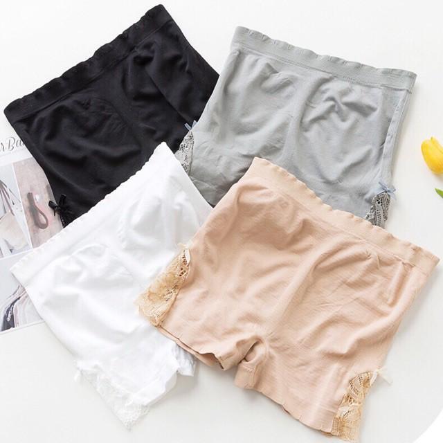 1782499943 - [Sale] Quần đùi dệt kim mặc đầm pha ren hai bên (Hàng như hình)
