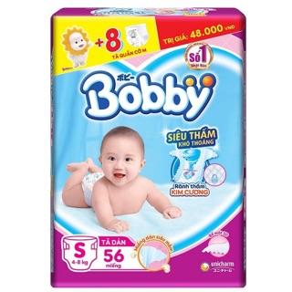 [Mẫu mới cộng 8 tã quần] Tã dán Bobby siêu thấm S56