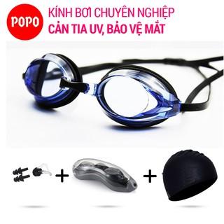 Bộ Kính bơi chuyên nghiệp POPO 1154 Mũ bơi, Bịt tai kẹp mũi, Mắt kính trong cản tia UV Hạn chế sương mờ