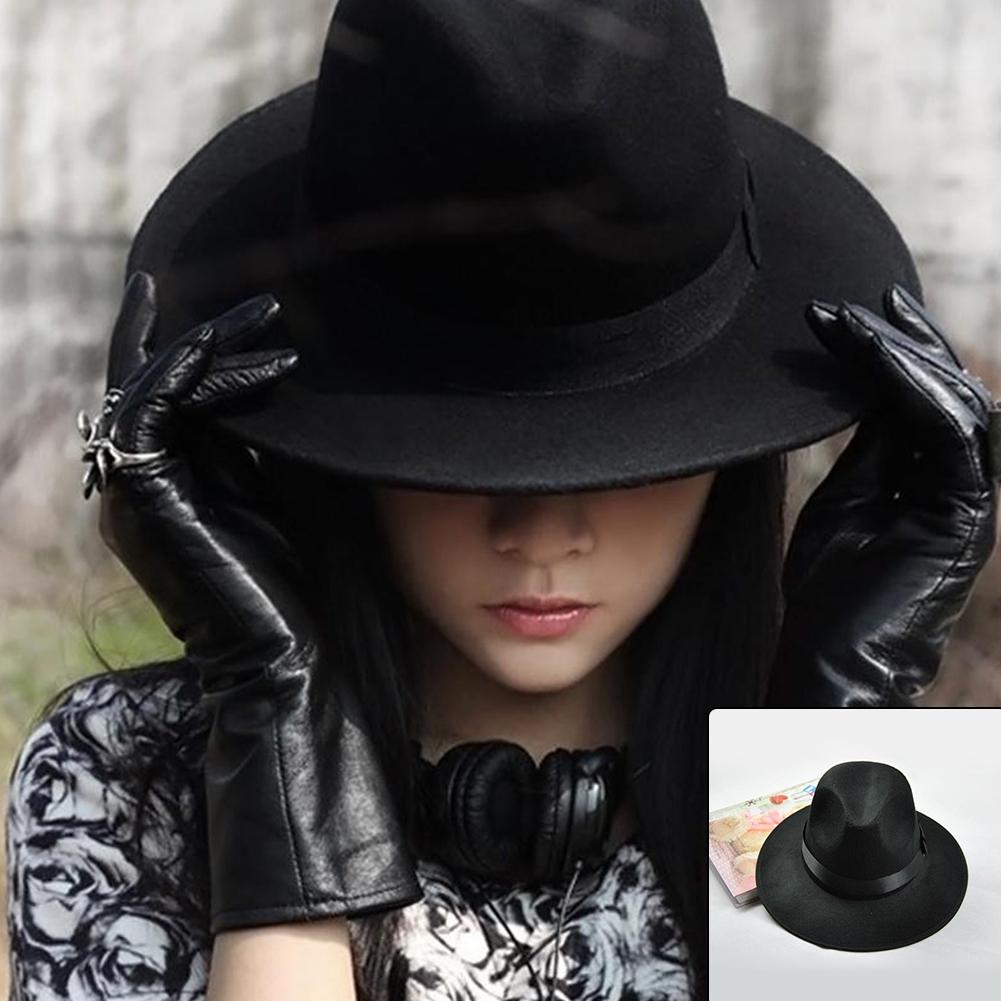 Fashion Cowboy Hat Vintage Women Wide Brim Ribbon Warm Wool Blend Felt Bowler Trilby Fedora Cap for men