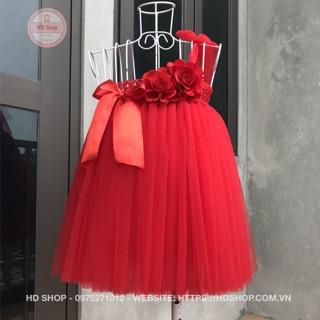 Váy cho bé gái ❤️FREESHIP❤️ Váy tu tu đỏ 2 bông hoa hồng nơ