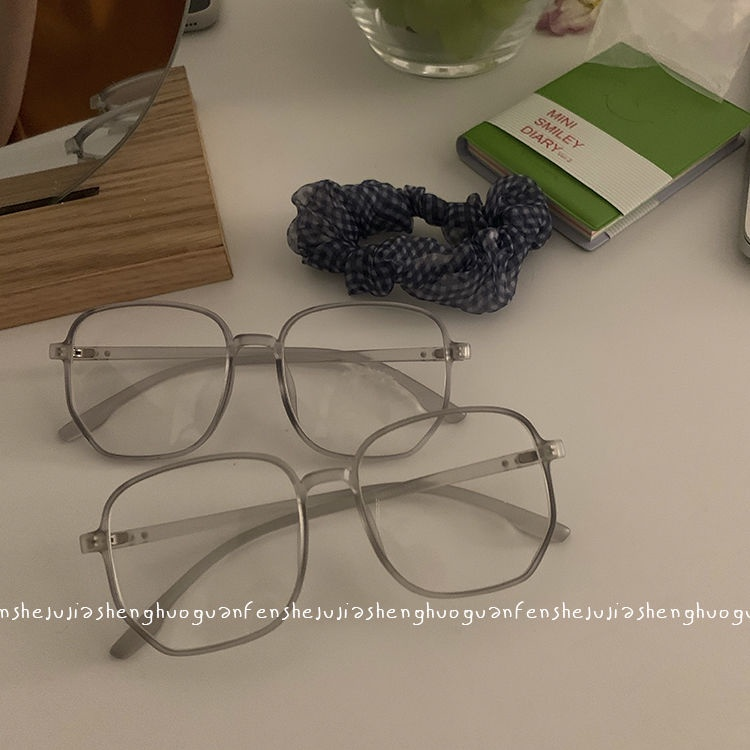 insSimple Gray Ultra Light Anti Blue-Ray Plastic Glasses Couple Concave Shape Face without Makeup Gadget Face-Looking Small Plain Glasses