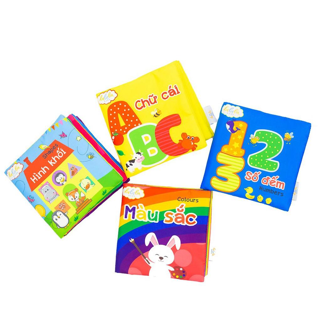 [Mã TOY0909 giảm 15% đơn 99K] Bộ sách vải cho bé Lalala Baby – Kích thích đa giác quan – Song ngữ