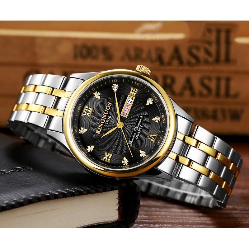 Đồng hồ nam KINGNUOS K188a dây thép không gỉ cao cấp + tặng vòng tay cao cấp