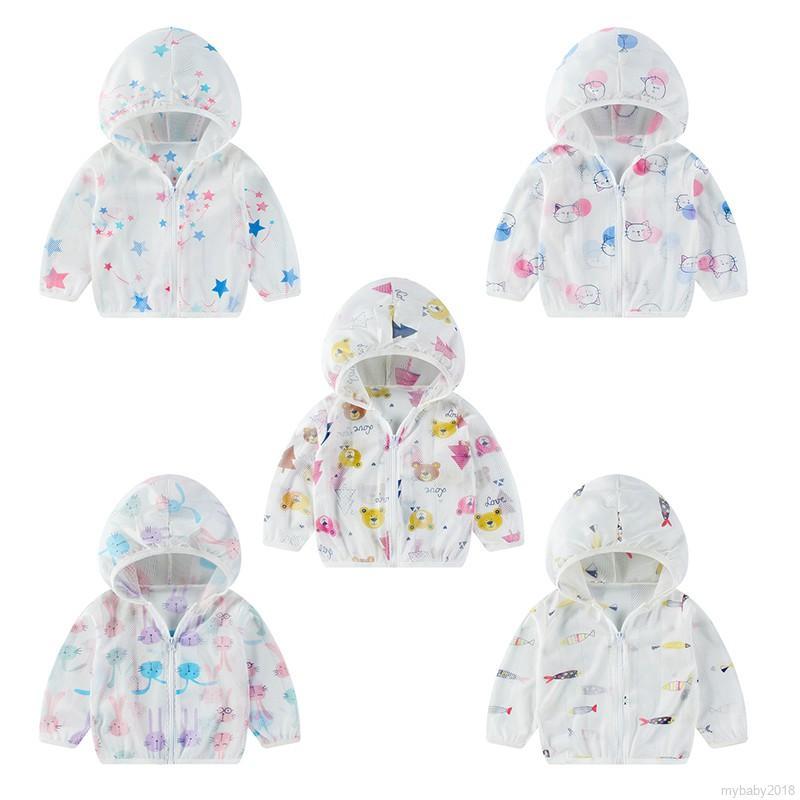 Áo khoác chống nắng có dây kéo họa tiết hoa quyến rũ cho bé