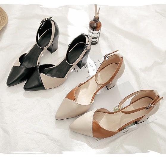 Giày cao gót vuông 7p kem mềm phối màu cực xinh__ LZ043