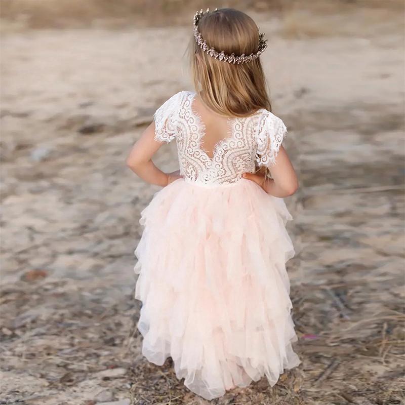 Áo đầm phối ren nhiều tầng dành cho bé gái tiệc sinh nhật 3-5-8 tuổi