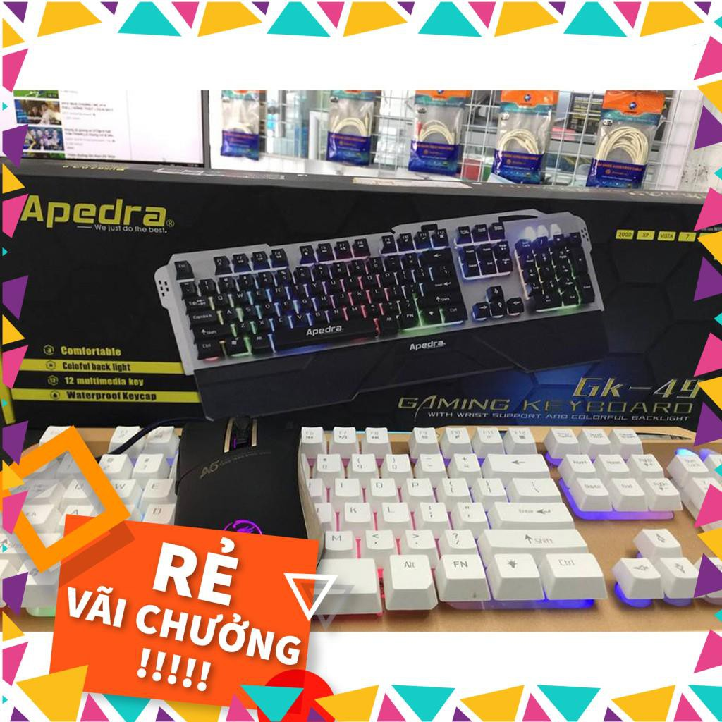 [RẺ VÔ ĐỊCH] Bộ phím chuột Gaming Apdra GK49 + A5 - Led Rainbow - Chuột A5 Led RGB - Có kê tay [CHẤT]