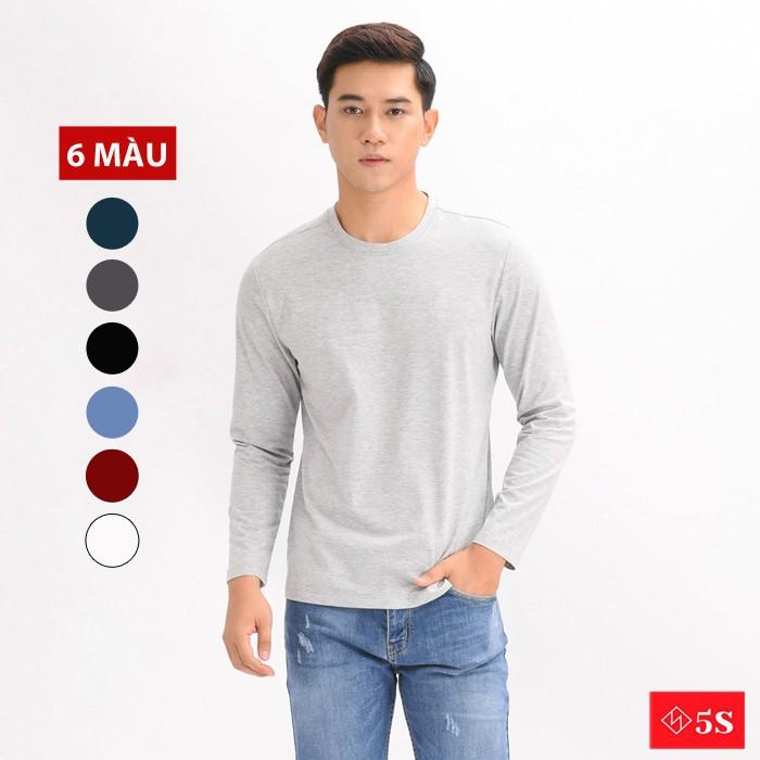 Áo Thun Nam Dài Tay 5S Cổ Tròn (6 màu), Chất Cotton Cao Cấp, Co Giãn Tốt, Phom Ôm Trẻ Trung, Năng Động