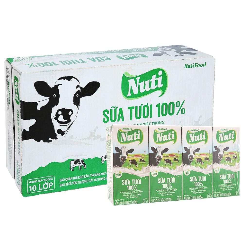Vỉ Sữa tươi Nuti 100% có đường loại 110ml