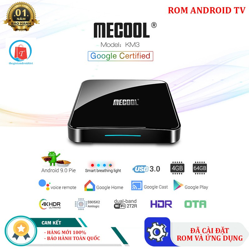 [Siêu rẻ] Android Tivi Box Mecool KM3 - Tivibox Ram 4GB, Rom 32GB - Chíp Khủng S905X2 - Bảo Hành 1 Năm